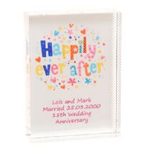 Happily Ever After Crystal - Personalised Wedding or Crystal Wedding Aniversary Gift